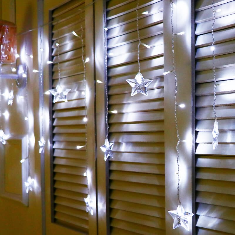 Julelys Star Led Curtain Light Christmas Garland Window Led Lights