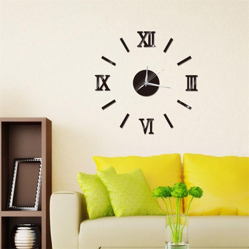 3D DIY Wall Clock Home Modern Decoration Crystal Mirror Vinyl Art ...