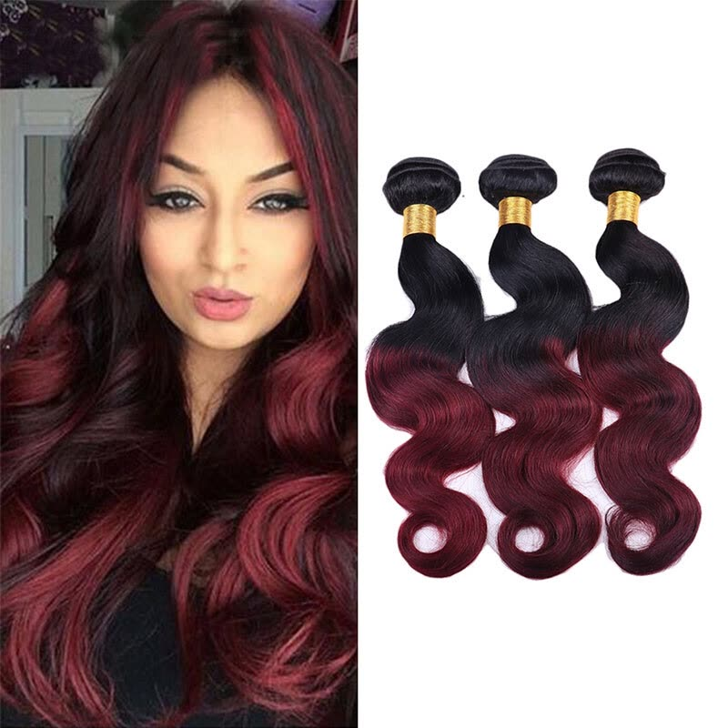 Shop Body Wave Ombre Brazilian Hair 3 Bundles Two Tones 1b99j Black