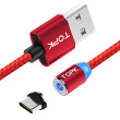 TOPK R-Line3 Magnetic USB Type C Cable 2m Nylon Braided LED Indicator Magnet USB C Charge Cable for USB Type-C Phones