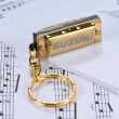Suzuki Mini 5 Holes 10 Tone Harmonica Keychain Key of C Golden