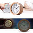 Wooden Desktop Snooze Alarm Clock Backlight Silent Non Ticking Bedside Kids Room Student Table Clock