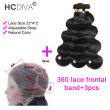 HCDIVA Pre Plucked 360 Lace Frontal with Bundle Brazilian Virgin Hair Body Wave 3 Bundle and Frontal Closure With Baby Hair
