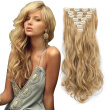 7pcs/set Clip in Hair Extensions 20inch Long Wavy Heat Resistant Kanekalon Synthetic Hairpiece Gifts for Girl Lady Women