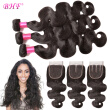 BHF Hair Grade 8A Malaysian Virgin Hair With Silk Closure Virgin Hair Body Wave Soft Tangle Shedding Free