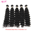Alot Human Hair Bundles Deep Wave 10 Piezas / porción brasileña armadura del pelo paquetes de color Natural Virgin Hair Extensions