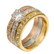 Top Quality 3pcs mix Colors Cubic Zirconia Wedding Ring set Classical Elgant Jewelry Gold Plated R107