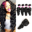 YS Hair 7A Grade Unprocessed Loose Wave Brazilian Virgin Hair 4x4 Lace Closure With Human Hair Bundles 4Pcs