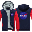 2018 New USA SIZE Men Winter Autumn Hoodies NASA Space Administration pattern Fleece Coat Baseball Uniform Sportswear Jacket wool