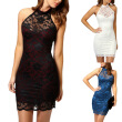 Bigood Women Ladies OL Lace Halter Neck Sleeveless Mini Dress Bodycon Skirt