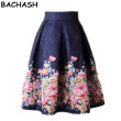 BACHASH 2018 Summer Women Skirt Vintage Peach Blossom Floral Print High Waist Ball Gown Pleated Midi Skater Skirts Saias
