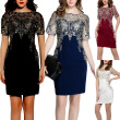 Bigood Women Ladies Mesh Embroider Lace Bodycon Mini Dress Party Skirt