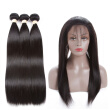 Brazilian Virgin Hair Bundles Straight Hair 360 Lace Frontal with 3 Bundles 100% Unprocessed Virgin Human Hair Extensions