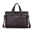 "P.kuone® men briefcase genuine leather business bag 14"" leather laptop briefcase shoulder bags men's messenger travel bags"