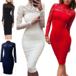 Bigood Women Elegant Long Sleeve Lace Slimming Bodycon Dress Party Skirt