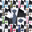 2016 New Hot selling Vogue Men Silk Tie Set High Quality 100% Silk Necktie Handkerchief Cufflink Set for Formal Wedding Party