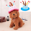 Letskeep Cute Pet Cat Dog Caps Happy Birthday Dog Hat with Cake Candles Party Teddy Poodle Kawaii Cute Pet Hats head girth 45 cm