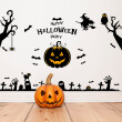 Happy Halloween Party Spider Pumpkin Lamp Witch Owls Bat Tree Wall Sticker Festival Window Glass Wall Applique Home Decor Art
