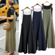 Women's linen cotton hanging bandwidth loose jumpsuit fashion jumpsuit Hanging belt pocket casual loose pants L-5XL