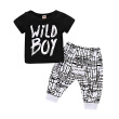 Kids WILD BOY T-shirt + striped pants - black 2 pieces suit