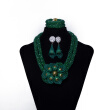 Dark Green Millet Beads Hand-Woven Flowers African Beads Jewelry Set Nigerian Wedding Beads Necklace African Jewelry Set for Women