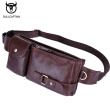BULLCAPTAIN Leather Waist Packs Fanny Pack Belt Bag Phone leather Pouch Bags Travel Waist Pack Male Functional Waist Bag