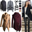 Autumn Winter Trench Coat Women Irregular Collar Lapel Side Zipper Woolen Coat Women Loose Sweater Outwear Plus Size S-4XL