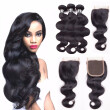 Amazing Star Brazilian Virgin Hair Bundles with Closure Body Wave with Closure Human Hair with Closure Free Part Natural Color