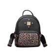 Hit color PU leather backpack leopard rivets women backpack high quality shoulder bag female casual small backpack