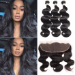 Brazilian 3 Bundles Body Wave with Lace Frontal Body Wave with 13x4 Closure Free Part  Virgin Human Hair Weave with Closure