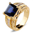 Aiyaya 12kt Yellow Gold Plated Cushion-cut Blue Sapphire High Quality Crystal Band Rings For Womens