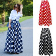 Women Polka Dot Print Casual Party Vintage Rockabilly High Waist Skirt Long Maxi Dress
