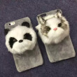 2016 Fashion Cute Animal Panda Cat Plush Toys New Cell Phone Case For iphone 6 4.7'' i6 plus 5.5''Hard Capa Phone Bag Hot Sale