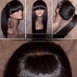 Silky Straight Lace Front Wig with Full Bangs Ponytail Brazilian Virgin Human Hair Lace Front Wigs for Women Natural Color