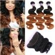 Ear To Ear Lace Frontal Closure With Bundles ombre Brazilian hair With Frontal Closure ombre hair extension 3 pcs & 13*4 closure