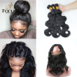 Lady Focus Brazilian Virgin Hair Body Wave Human Hair 3 Bundles With 360 Lace Frontal Natural Black Pre Plucked Natural Hair Line