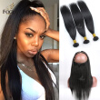 Brazilian Virgin Hair Straight Pre Plucked 360 Lace Frontal With Bundles 4Pcs Lot Human Hair Wefts 360 Lace Band With baby hair