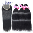Brazilian Straight Hair with Closure Brazilian Virgin Hair 3 Bundles with Closure Straight 8A Human Hair Weave With Closure