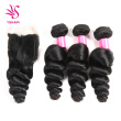 Brazilian Virgin Hair with Closure Unprocessed Brazilian Loose Wave Human Hair Weave 3 Bundles with Lace Closure 4x4 Lace Top Clos