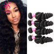 YS Hair Brazilian Virgin Hair Loose Wave Hair Weave 4 Bundles Unprocessed Loose Wave Human Hair Weave Natural Black