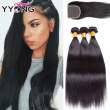 YYONG Hair Brazilian Straight With Closure 8A Brazilian Virgin Hair Straight With Closure 3 Bund Human Hair Weave Top Notch