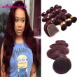 Burgundy Color Weave Bundles With Closure Malaysian Body Wave With Closure Cheap Red Bundles With Lace Closure Red Human Hair