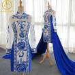 2 Piece Waist Split Evening Dress Party Long Sleeve Embroidery Women Traditional Chinese Clothing Plus Size Cheongsam Gown 2017