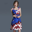 2017 New Fashion Beauty Blue Butterfly Printing Dress Slim A-lineskirt Relaxation Party Office Exercise Women's Dress