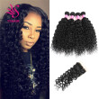 YS  HAIR 7A Water Wave 4 Bundles With 4x4 Free Part Lace Closure Unprocessed Brazilian Virgin Hair Bundles With Lace Closure