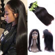 Peruvian Virgin Hair straight Lace Band 360 Lace Frontal Closure Natural  straight Lace Band Frontal Closure with straight