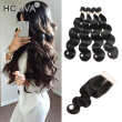 HCDIVA Body Wave Human Hair Bundles With Closure Peruvian Human Hair With Lace Closure, 4 Bundle Hair with 1 Closure