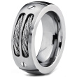 Hpolw 8MM Men's Stainless Ring Wedding Band with Stainless Steel Cables and Screw Design Sizes 6 to 15 Punk Style Accessories