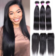 Wholesale Natural Black Virgin Hair Straight With Closure 3 Bundles Human Hair Weave Straight With 4*4 Lace closure