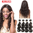 Allrun Hair Products Brazilian Virgin Hair Body Wave 4 Bundles Brazilian Body Wave Brazilian Hair Weave Bundles Human Hair